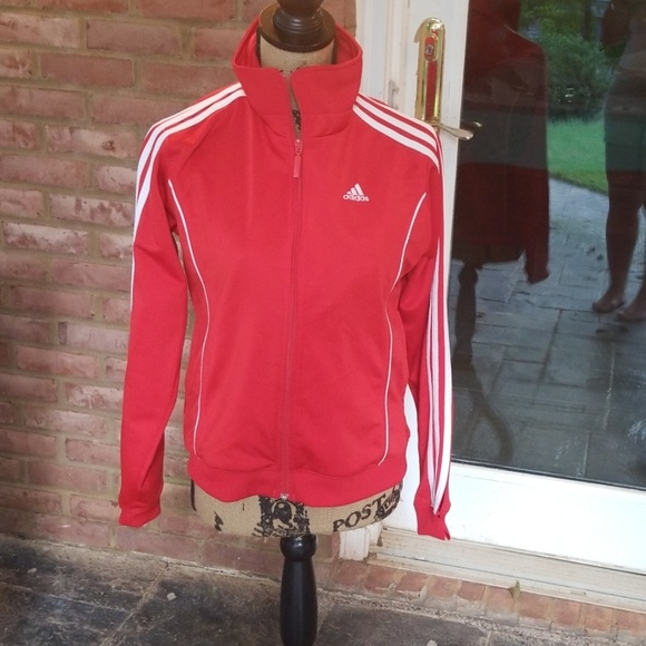 Vintage Red Adidas Jacket With White